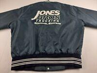 Vintage Jones Bros Trucking Varsity L Jacket Missoula MT Snap Satin Quilted E2