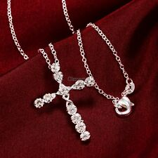 Women 925 Sterling Silver Plated Crystal Cross Pendant Necklace Chain Jewelry OK