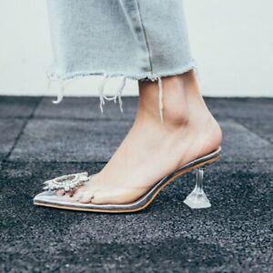 Luxury Women Slingbacks Pointy toe Rhinestone Pointy Toe Stilettos Heel Sandals