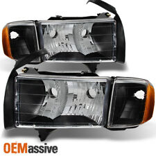 Fit 1999-2002 Dodge Ram 1500 Pickup Sport Black Headlights Corner Replacement