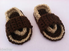 BABY BOY SANDALS FLIP FLOPS SHOES CROCHET Size 6-12 Months Brown and Tan