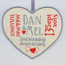2nd Wedding Anniversary 100% COTTON Personalised Heart Love Him Her Keepsake