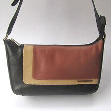JANE SHILTON Leather Shoulder Handbag Black Tan & Nude Zip Close Pockets Small