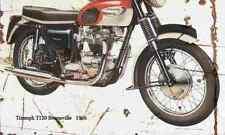 Triumph T120 Bonneville 1966 Aged Vintage SIGN A4 Retro