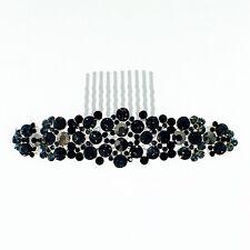 USA Hair Comb Hairpin use Swarovski Crystal Elegant Bridal Wedding Black M01