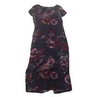 LAURA ASHLEY 100% Silk slim Fit Maxi Dress Aubergine Floral Print UK 16 G8