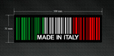 2 x MADE IN ITALY BAR CODE Stickers/Decals - To Stick on Inside of Glass
