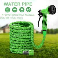 Deluxe 25 50 75 100 Feet Expandable Flexible Garden Hose Spray Water w/ B9U6