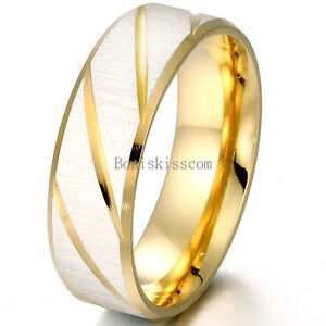 Blue / Gold Tone Grooved Stainless Steel Anniversary Engagement Band Unisex Ring