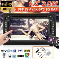 6.2 po 2 DIN Autoradio Stéréo GPS SAT Navigation Lecteur DVD bluetooth Caméra