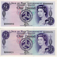 1980 & 1982 Isle of Man £1 Pound Banknotes Serial No. H999993 & K000021 P34a UNC