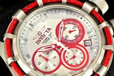Invicta 200M Bolt Red Accents Chrono 50MM Dial Red CABLE Black Silicone SS Watch