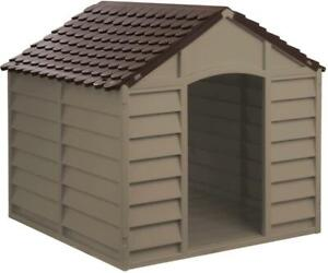 XL Plastic Dog Kennel Pet House Weatherproof Indoor Outdoor Animal Shelter NEW