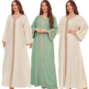 Women Dubai Abaya Kaftan Robe Muslim Long Sleeve Maxi Dress Islamic Jilbab Gown