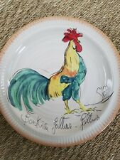 Pottery Barn Rooster Plates set of 4 rustic Tuscan design Hand painted farmhouse