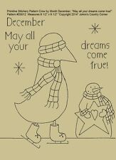 """Primitive Stitchery Pattern Crow Month December """"May all your dreams come true!"""""""
