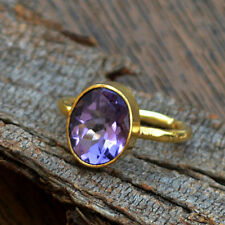 Natural Amethyst Gemstone Solid 14K Yellow Gold February Birthstone Ring Size 7