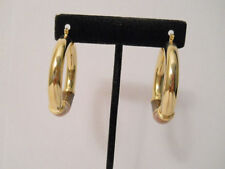 14K Gold Filled 32MM Three Tone Shiny Wooden Hoop Earrings Item #A186