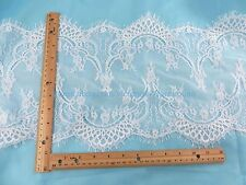 US SELLER- 3 meters double eyelash edges lace trim white 29cm wide