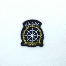 """Ship Wheel Patch Marine Sail Boat Embroidered Iron On Applique 1.5"""" x 1.3""""  095"""