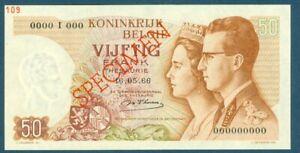 Belgium Specimen 50 Francs May 16, 1966 Pick 139s Sig 18