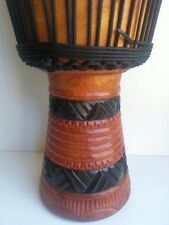 QUALITY MAHOGANY WOOD BONGO DJEMBE DRUM DEEP CARVED NAT BLK 60CM TALL