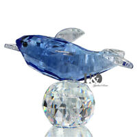 Blue 3D Crystal Paperweight Animal Facet Dolphin Figurine Glass Collectible Gift