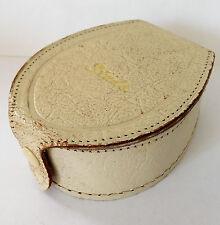 Vintage stud box white leather Mens or ladies 1950s 1960s horse shoe shape