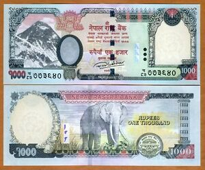 Nepal, 1000 Rupees, 2016 (2017), P-New, UNC > Elephant, Highest Denom