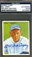 BILL TERRY PSA/DNA SIGNED 1933 GOUDEY REPRINT AUTHENTIC AUTOGRAPH