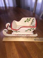 Vintage Christmas Santa Sleigh Wood Folk Art
