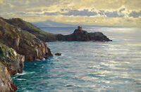 Large Oil painting beautiful seascape with huge rocks by beach in sunset view