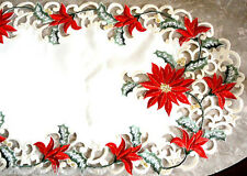 """Christmas Red Poinsettia Lace Dresser Scarf 34""""  Doily Table Runner"""