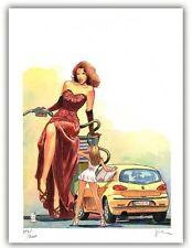 Affiche Milo MANARA Filles et Voitures Donne e Motori 13 signé 200ex 30x40 cm