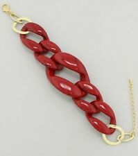 "8"" gold red resin link bangle cuff bracelet stack cage basketball wives"