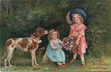 Embossed Pfb Vintage Postcard Victorian Children in Garden w English Pointer Dog