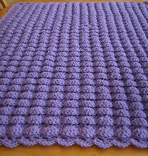 CROCHET PURPLE BABY BLANKET AFGHAN SHELL PATTERN HANDMADE GIRL BOY GREAT GIFT