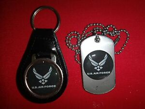 US AIR FORCE Black Leather Key Ring + Matching Dog Tag New