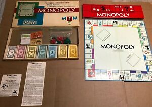 Vintage 1961 MONOPOLY Board Game - INCOMPLETE - for parts or extras pieces