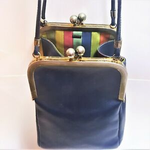 VINTAGE BONNIE CASHIN COACH NAVY BLUE LEATHER DOUBLE KISSLOCK HANDBAG