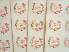"40 x Floral ""Thank You"" Round Craft Packaging Seals Stickers Label Gift  *UK*"
