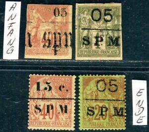ST PIERRE et MIQUELON 1891 Vier Werte ungebraucht teils etwas unperfekt(M1747