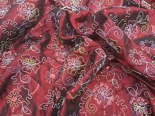 Burgundy Wine Shot Silk Taffeta Curtain Cushions Sequins Asian Sari Dress Fabric