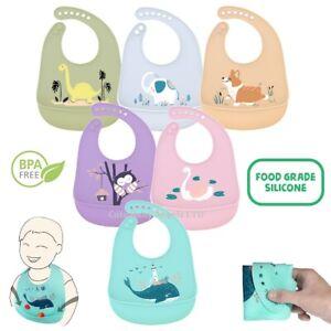 Animal Print Baby Feeding Bib Roll Up Pocket Soft Silicone Cover Mess & BPA Free