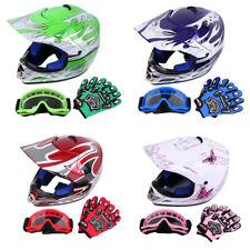 Kinder Moto cross Helm Motorradhelm Brille Handschuhe S M L