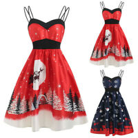 Christmas Women Sleeveless Vintage Evening Party Dress Swing Dress P