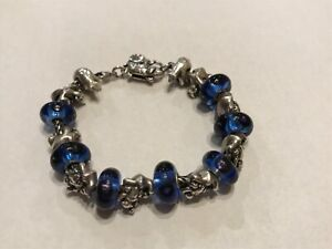 Trollbeads sterling polar bear theme with blue glass beads