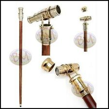 "Vintage 36"" nautical style Walking Stick with Solid Brass foldable Telescope"