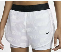 "Nike Air Women's 2in1 Running Shorts 3"" AQ5634-100 White Black Size L New"