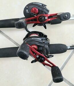 2 Low Profile Baitcast Reel and fishing Rod Combo, Abu Garcia Black Max, vengean